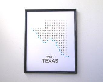 West Texas Map - Big Bend, Rio Grande, Marfa, Texas Hill Country, and El Paso Map Print