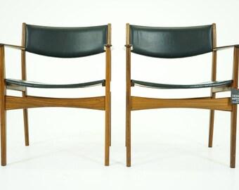 307-039 SALE! Danish Mid Century Modern Pair Teak Armchairs Chairs by Hans Olsen