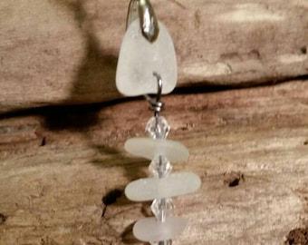 Fishbone lake Erie beach glass pendant.