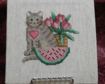 Cross Stitch Cat Canvas