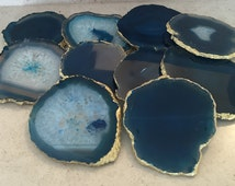 8-10cm Blue Agate Stone Coasters with Gold edge-set of 2, 4, 6, 8 or 10 luxury home decor