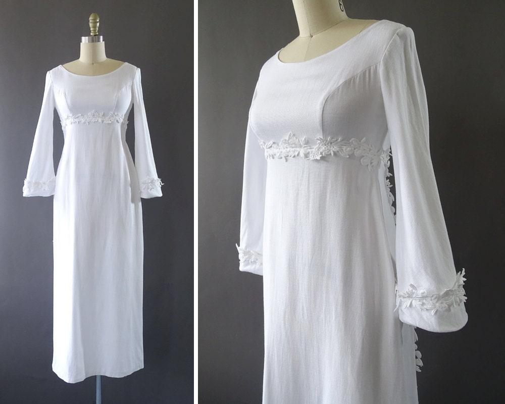 60s Blossoming White Dress 1960s Vintage Bridal Dress Long