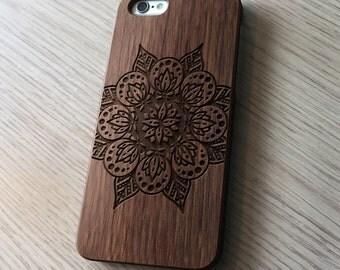 Mandala Real Wood iPhone 6 / 6s case   iPhone 6 Cover   iPhone 6S Case   Real Wood Case   Laser Engraved   Laser Etc