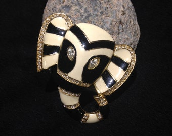 Black and White Striped Elephant Brooch