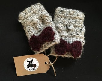 Kids Fingerless Mittens with Bows