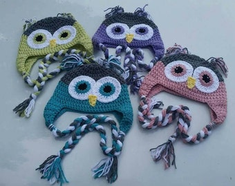 Owl hat with earflaps and braids