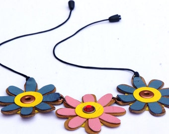 Leather Necklace, Flower Necklace, Leather Flower, Leather Jewelry, Handmade Necklace, Flower Pendant, Necklace, Gift For Her