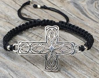Cross Bracelet, Cross Anklet , Adjustable Cord Macrame Friendship Bracelet, Cross Jewelry, Filigree cross, Religious Bracelet, Gift for Her