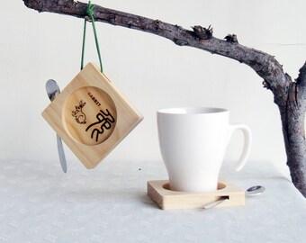 Chinese Zodiac Rabbit,Dragon,Snap,Coasters,Wood