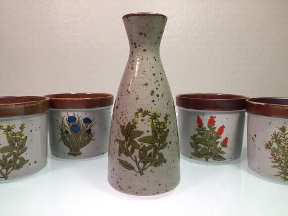 4 Vintage Herb Pots Window Sill Planters Retro Japan