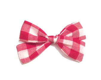 SALE- Red Gingham Bow, Gingham Bow, Baby Bow, Baby Girl, Baby Headband, Baby Girl Bow, Baby Accessories, Hand-tied Bow-Large