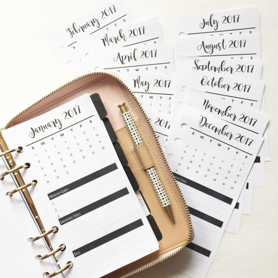 Monthly Highlights Bold  Personal Size Planner Inserts