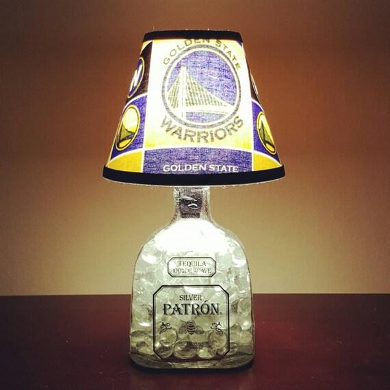 Handmade LED Golden State Warriors vs. Patron Tequila Liquor Bottle Lamp