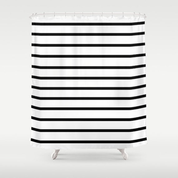 Striped Shower Curtain Black And White Stripes Shower