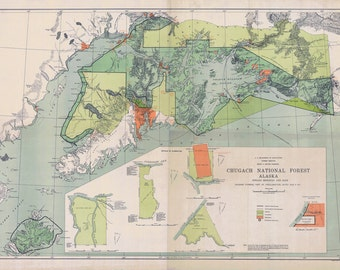 1919 Map of Chugach National Forest Alaska