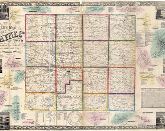 1856 Farm Line Map of Wayne County Ohio Wooster