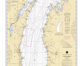 2002 Nautical Map of Lake Michigan