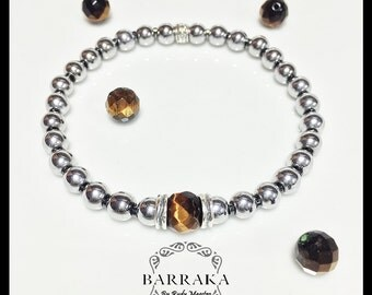 The eye of Barraka - Tiger eye (brown)  made from sterling silver, hematite stones and tigereye stones from africa