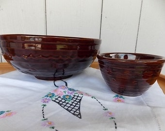 Vintage Daisy and Dot Marcrest Warm Colorado Brown Mixing Bowls, Set of Two