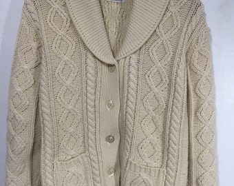 80's vintage shawl collar cardigan sweater cable irish style