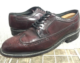 80's vintage hanover leather shoes wingtips made in usa size 9.5 oxfold