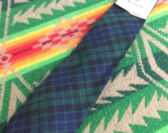70's deadstock green plaid tie made in scotland wool