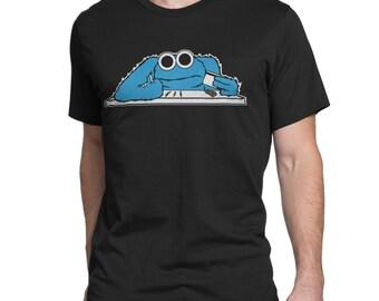 Cookie Monster Cocaine Mens T Shirt - Black & White