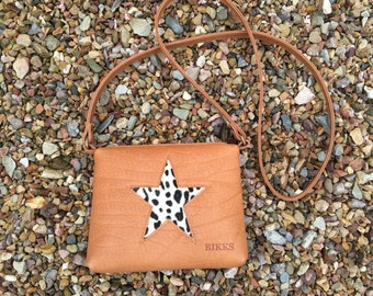 leather bag with star of cowhide