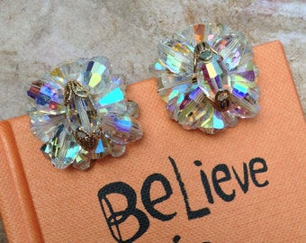 Statement-making Vintage Crystal Clip-on Earrings