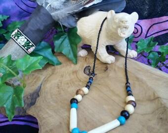 Bear Spirit-necklace unisex shaman druid witch bear bone blue howlite tagua beads spirit