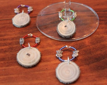 Small Wood Wine Charm--Owl Accent set of 4
