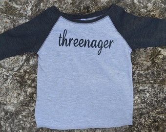 Threenager girls raglan baseball tee