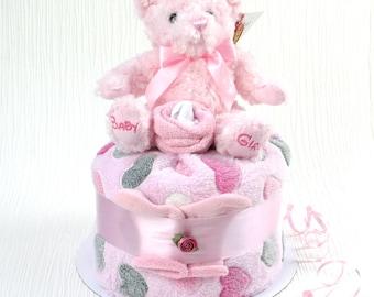 Poppet nappy cake - pink