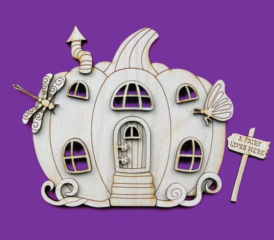 Fairy house pumpkin door 3d wooden elf shapes pixie for Fairy door shapes