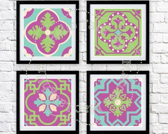 Tiles PRINTABLE WALL ART- Set of 4 mosaic prints in teal green purple- Square and letter size format Printable Wall Decor Vintage Mosaiques