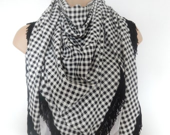 black and white fringed scarf