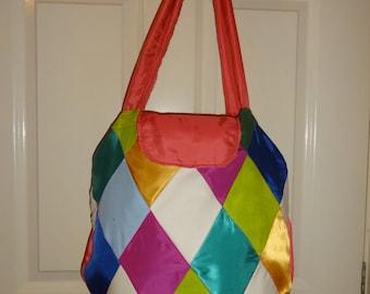 Diamond patchwork shopping bag
