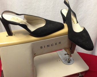 1960s Black Suede, Sling-Back Shoes by Dina. Perfect for black tie, formal, business meetings or evening wear.