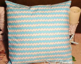 Aqua and Cream Print Beach Pillow Covers Ocean Seaside Cabana Resort Patio Decor