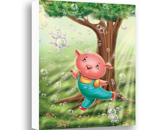 Pig Wall Art, Nursery Wall Decor, Farm Animals, Kids Canvas Wall Art, Kids Room Decor, Baby Pig, Animal Art, Childrens Art, Toddler Wall Art