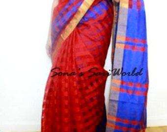 Red and Blue Assam Jute Saree - A1005