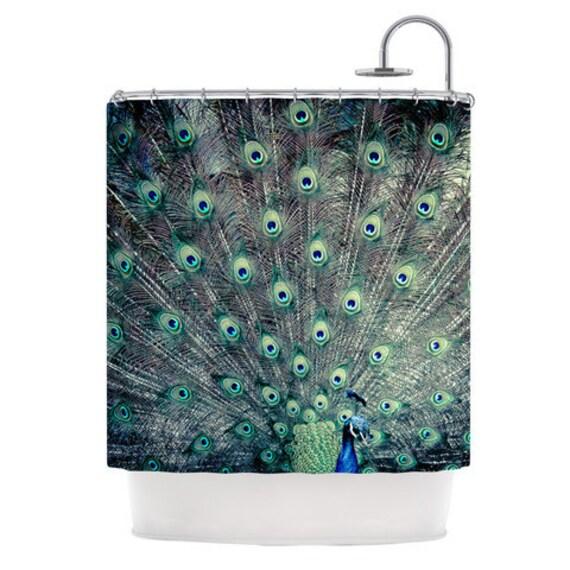 peacock shower curtain peacock bath decor peacock boho