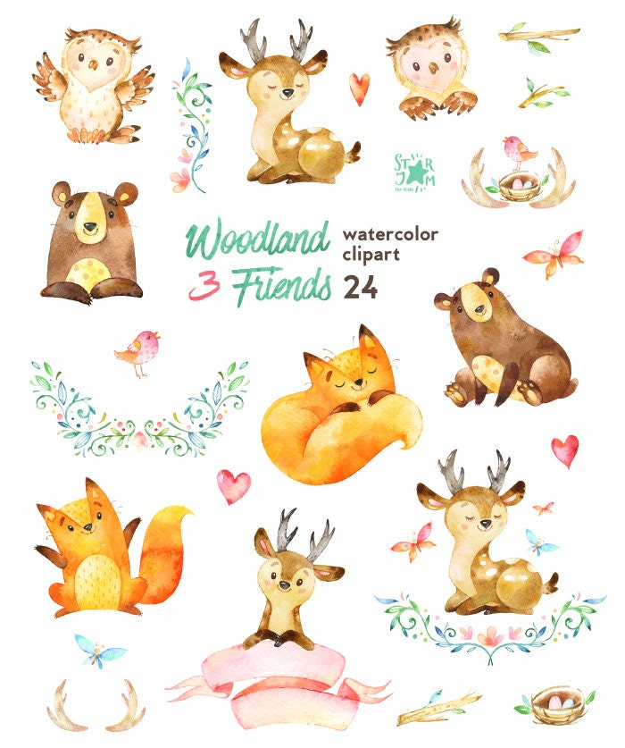Woodland Friends 3. Watercolor animals clipart fox forest