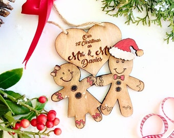 Our first christmas as Mr and Mrs , Newly wed christmas  decoration, Just married christmas decoration, Personalsied wedding  gift.