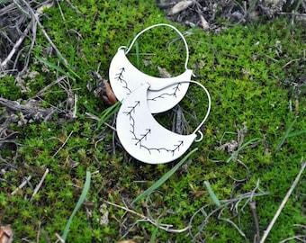 Pine tree earrings Sterling silver earrings Winter woodland Winter earrings Silversmith jewelry Silver forest Woodland earrings Winter tree