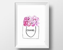 Coco Chanel peony Rose, Printable Wall Art, Paper bag print, fashion theme decal, girl bathroom print, picture decal, fresh gift idea chanel