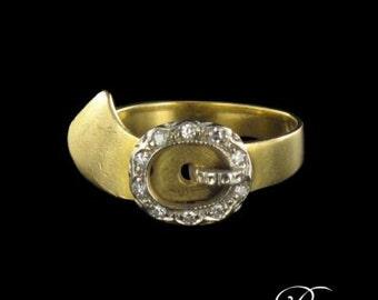 Old ring belt diamonds yellow gold 18K Vintage
