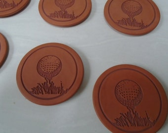 Set of Six Golf-ball-on-tee -Terra Cotta Drink Coasters