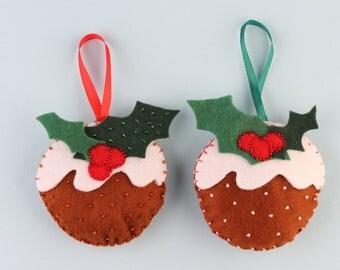 Christmas Holiday Tree Felt Ornament Cake Holly Beaded Decoration, set of 2