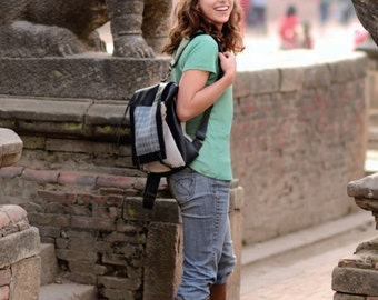 Maiya Backpack  100% Cotton Canvas and Genuine Leather
